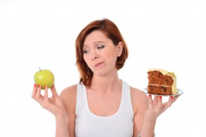 Woman Choosing and Breaking Sugar Addiction for Healthy Body